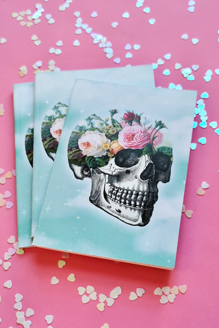 Garden Floral Skull Clouds Notebook