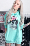 Garden Floral Skull Hooded Top in Peppermint Green