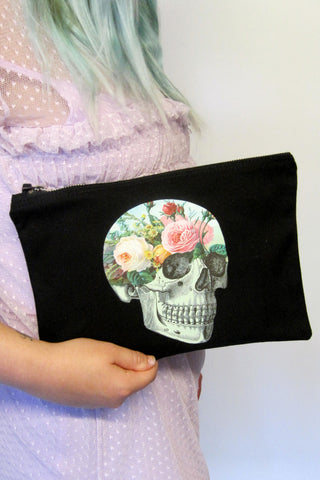 Garden Floral Black Clutch Bag