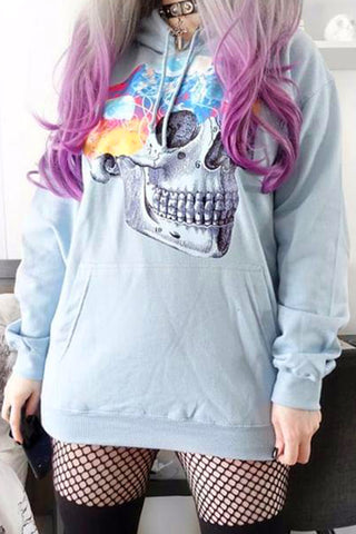 Jellyfish Skull Hooded Top in Sky Blue