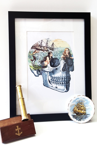 Mermaid Skull Art Print