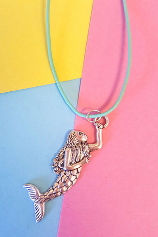 Mermaid Charm Leather Cord Necklace