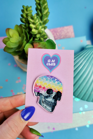 Mermaid Rainbow Skull Pin Badge