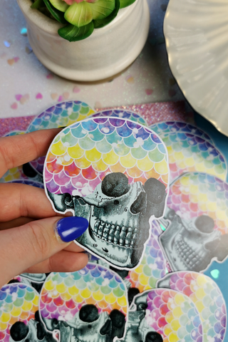 Mermaid Rainbow Skull Vinyl Sticker