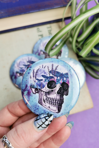 Moth Skull Marble Large Button Badge
