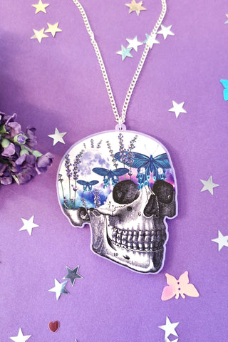 Moth Sky Skull Acrylic Necklace