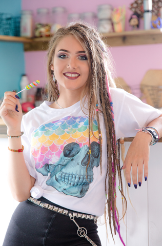 Mermaid Rainbow Skull Graphic Tee