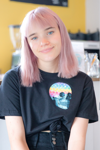Mermaid Rainbow Skull Pocket Tee