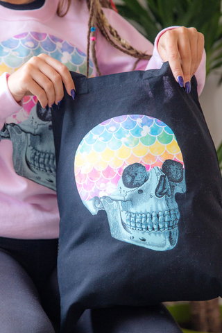 Mermaid Rainbow Skull Black Tote Bag