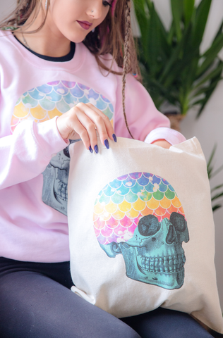 Mermaid Rainbow Skull Natural Tote Bag