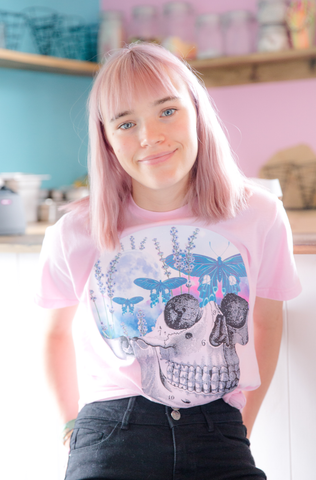 Moth Sky Skull Pink Graphic Tee