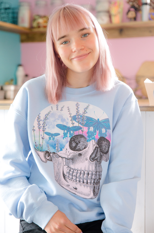 Moth Sky Skull Baby Blue Sweater