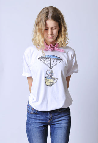 Alice How Curious White Tee
