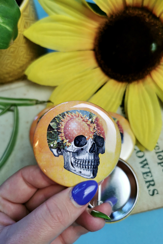 Sunflower Skull Large Button Badge