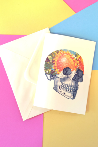 Sunflower Skull Greeting Card Lemon