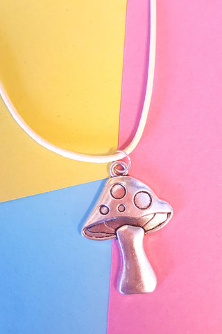 Toadstool Charm Leather Cord Necklace