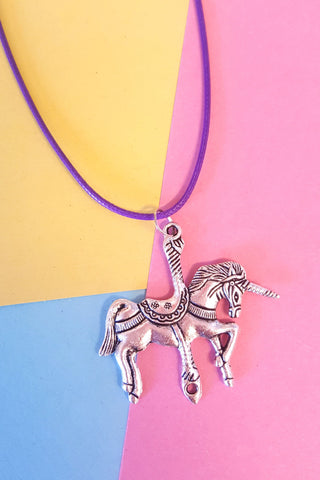 Unicorn Charm Leather Cord Necklace