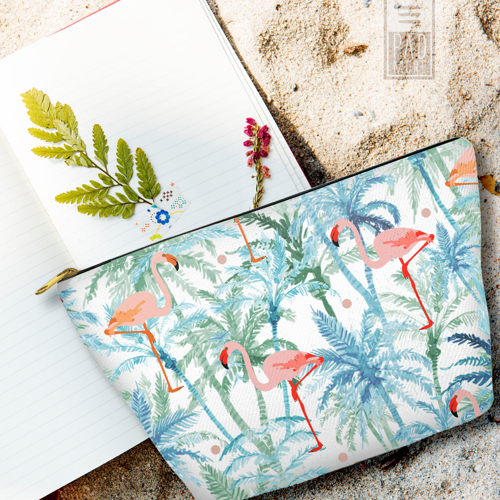 Flamingos on Palms Pouch