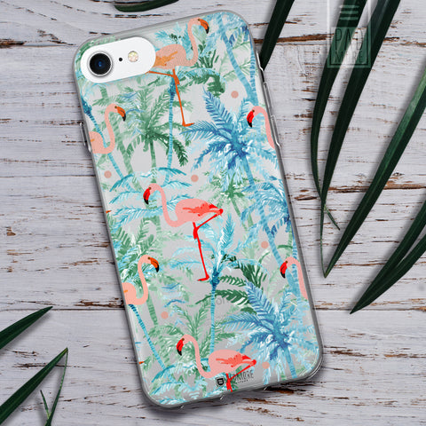 Flamingo on Palms Phone Case