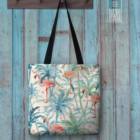 Flamingo on Palms Tote bag
