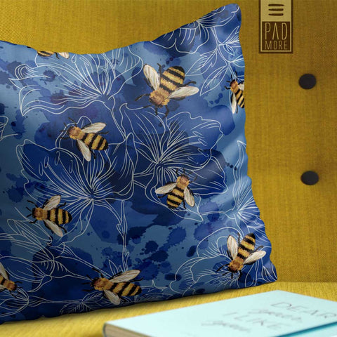 Bees in Blue Sky Pillow