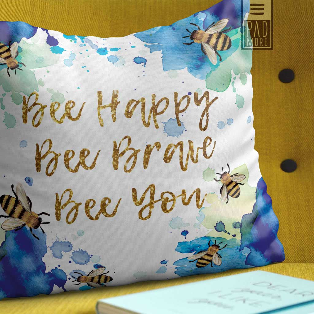 Bees in Blue Happiness Pillow
