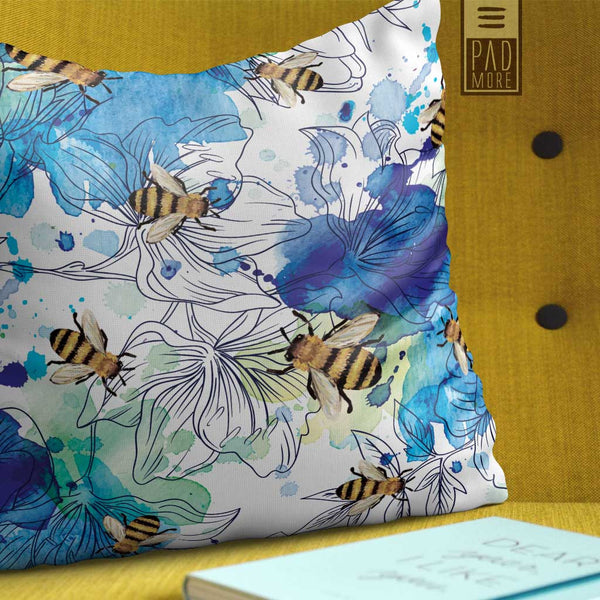 Bees in Watercolor Blue  Pillow