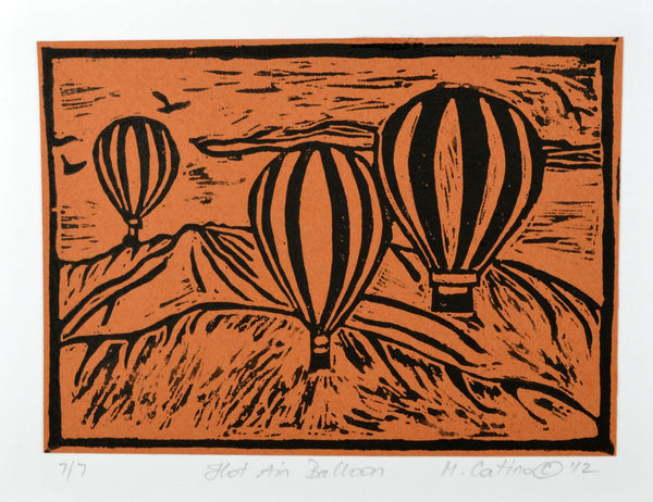 Note Card - Hot Air Balloon Black on Brown