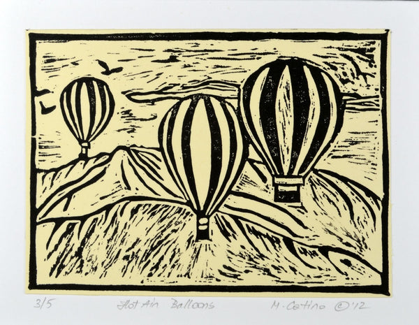 Note Card - Hot Air Balloons Black on Cream