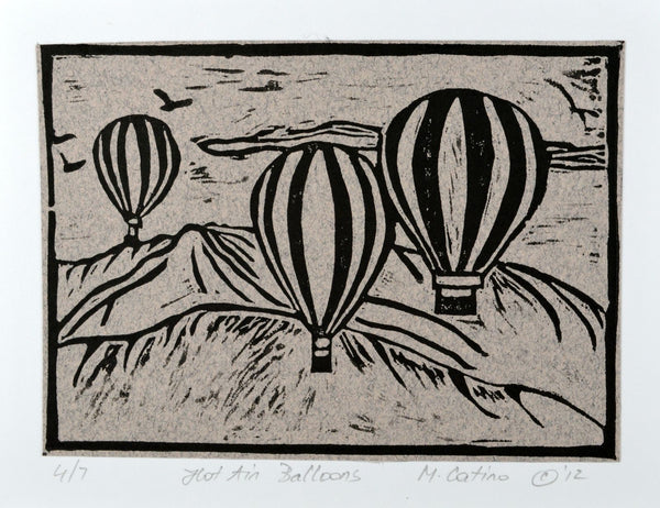 Note Card - Hot Air Balloons Black on Grey
