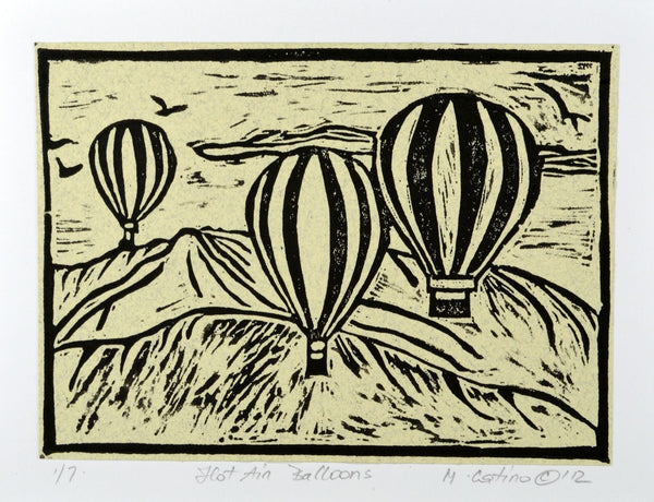 Note Card - Hot Air Balloons Black on Heather