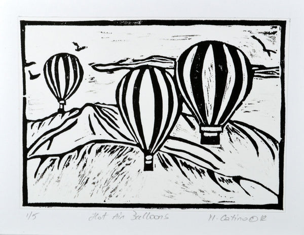 Note Card - Hot Air Balloons Black on White