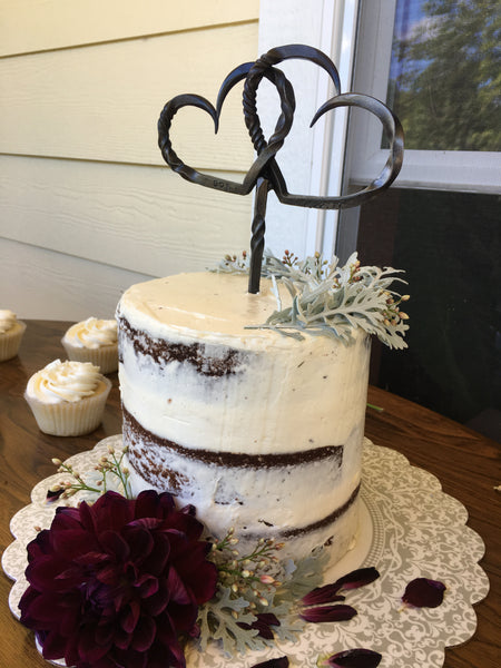Hand Forged Cake Topper by HammeredForge for a Rustic Wedding