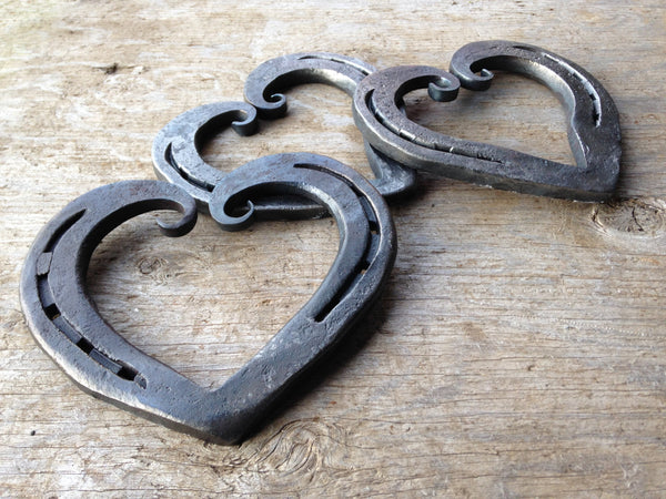 Curled horseshoe heart for iron anniversary, wedding, 6th or 11th anniversary
