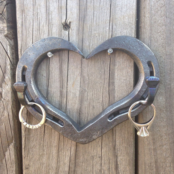 Horseshoe heart wedding ring holder, key hook, jewlery hanger