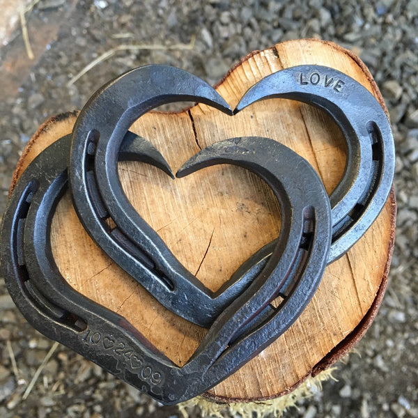 Little interlocking horseshoe hearts.  Weddings, Valentines, Anniversary, iron anniversary