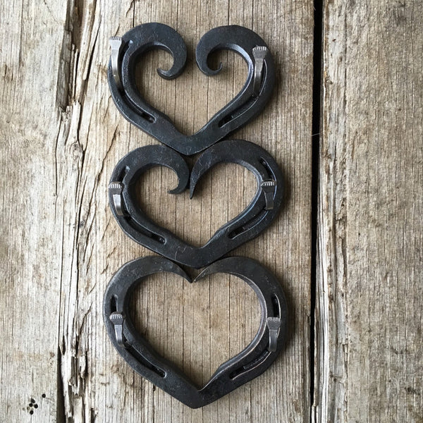 Curled Horseshoe heart wedding ring holder or key hook by HammeredForge