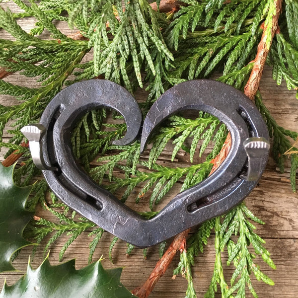Horseshoe heart wedding ring holder, key hook, jewlery hanger, asymmetrical curl