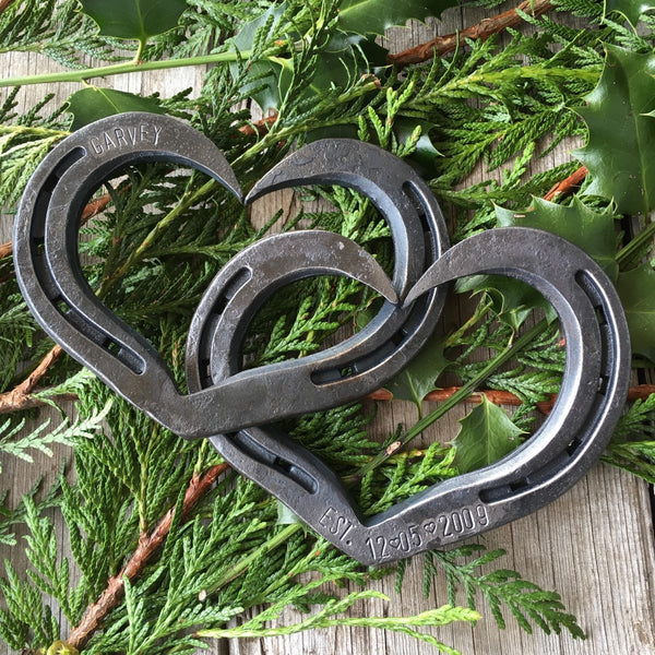Personalized interlocking horseshoe hearts for Weddings, Anniversaries, or iron anniversary by HammeredForge