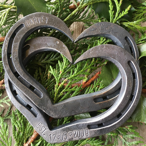Personalized interlocking horseshoe hearts for Wedding gift or iron anniversary by HammeredForge