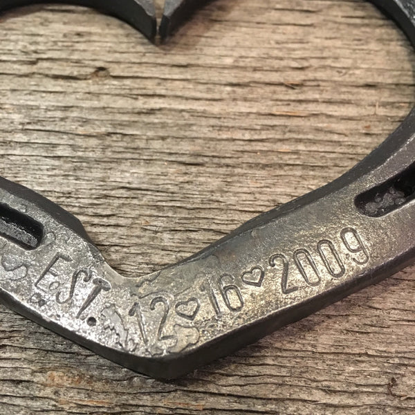 Personalized EST. horseshoe heart with stamping options