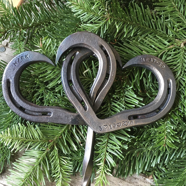 Personalized Horseshoe heart cake topper for Country Wedding or Rustic Wedding