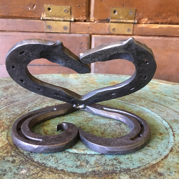 Hand Forged Double Horse Head  Horseshoe heart cake topper for Country Wedding or Equine Wedding