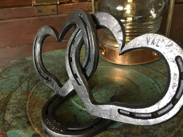 Personalized Horseshoe Heart Cake Topper by HammeredForge for Country Weddings or Equine Weddings