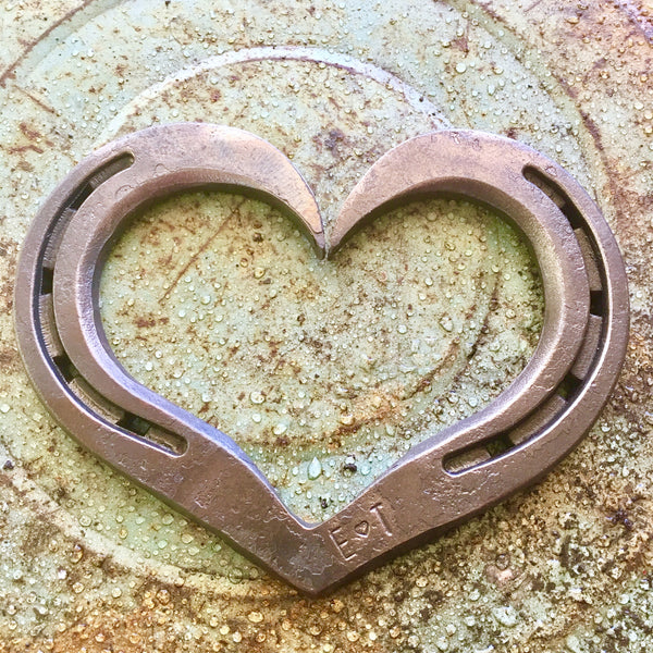 Custom initialed Horseshoe hearts by HammeredForge