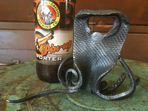 Hand Forged Octopus bottle opener, nautical gift