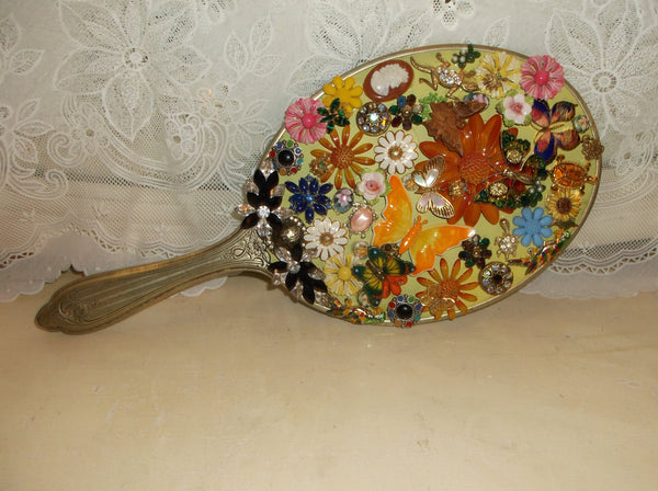 Mothers Day Gift Mirror Lady s  hand decorated with vintage costume jewelry. epsteam