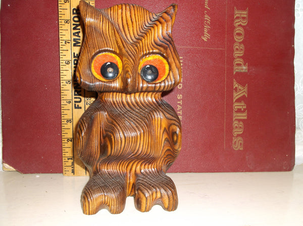 Retro Witco owl Vintage mid century modern wooden with big eyes .epsteam