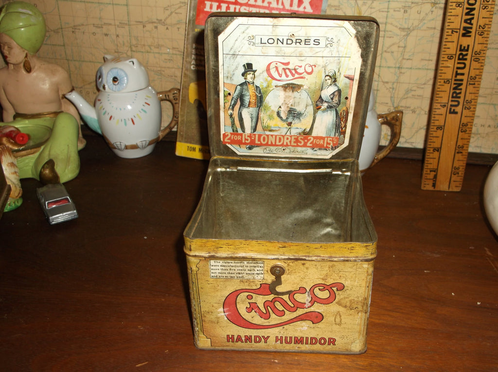 Tobacco tin box Antique Cinco Handy Humidor great gift idea .epsteam