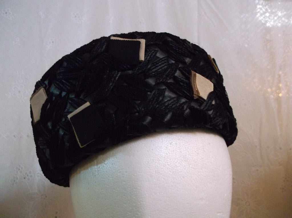 Hat Vintage 1950 s Sears black ladies hat.epsteam